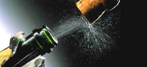 The longest recorded champagne cork flight photo