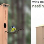 Bird nesting wine box photo