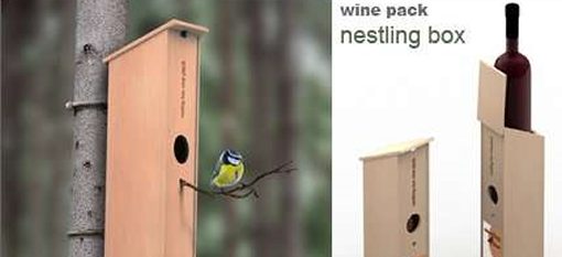 Bird nesting wine box photo