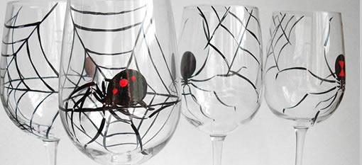 Halloween: Black Widow Wine Glasses photo