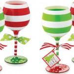 Stripe Christmas Wine Glasses photo
