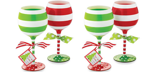 Stripe Christmas Wine Glasses photo
