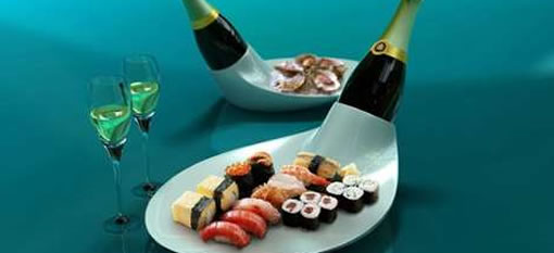 Sparkling wine and sushi platter photo