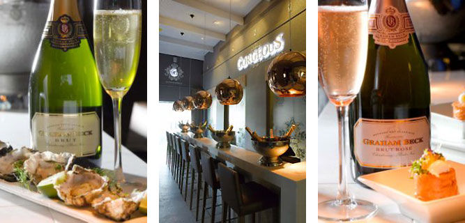 Gorgeous bubbly bar bubbles with gorgeous Graham Beck bubblies, canapés and staff! photo