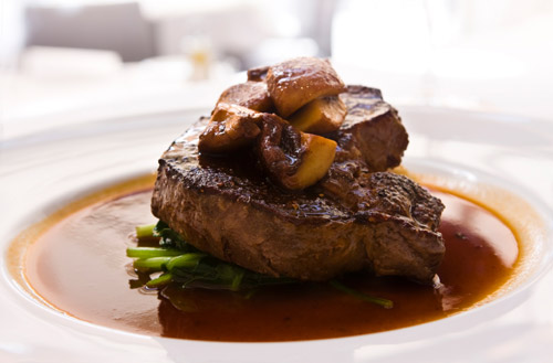 Rump steak with quick mushroom and red wine sauce photo