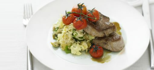 Lamb steaks with houmous new potatoes photo