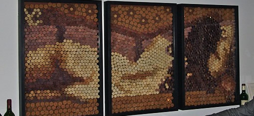 Artist creates collages of nude models using hundreds of wine bottle stops photo