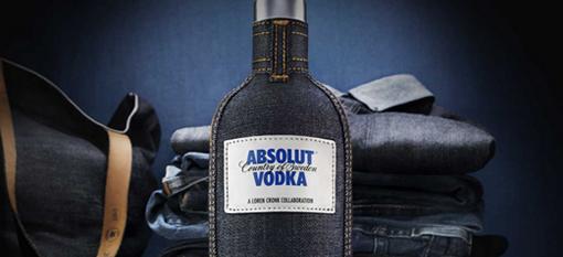Absolut Vodka slips on skinny jeans photo