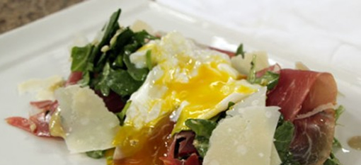 Chardonnay-poached Egg On Arugula photo