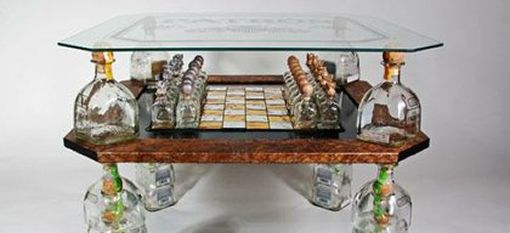 Chess table made from Patrón Tequila bottles wins $10k photo