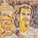 Wimbledon champion Andy Murray captured on carpet using wine and coffee photo