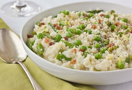 Baked Risotto with Peas, Asparagus and Pancetta photo