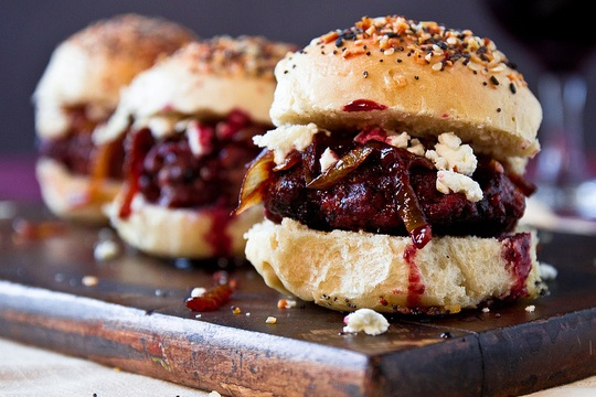 Red Wine Burgers with Caramelized Onions and Goat Cheese photo