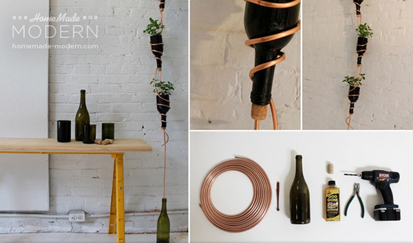 Make your own hanging herb garden with a wine bottle photo