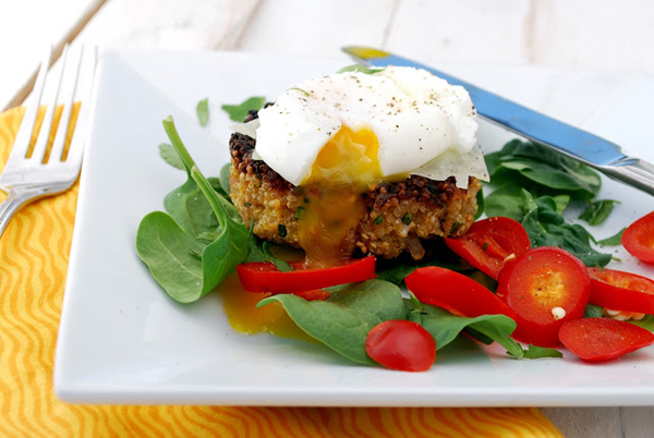 Poached Eggs Over Cauliflower Quinoa Cakes photo