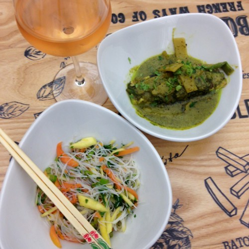 Mango, papaya and rice noodle salad recipe photo