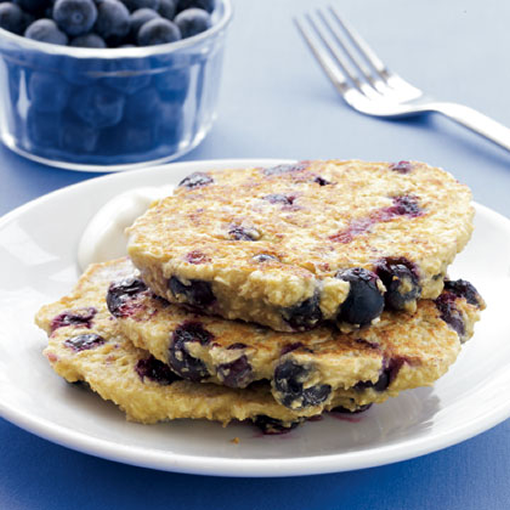 Blueberry Oat Pancakes with Maple Yogurt - drinksfeed.com