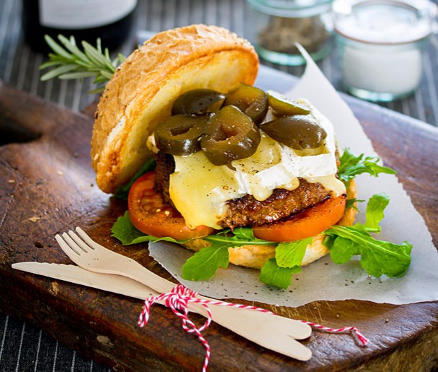 Beef Burger with Fairview Brie and Green Fig photo