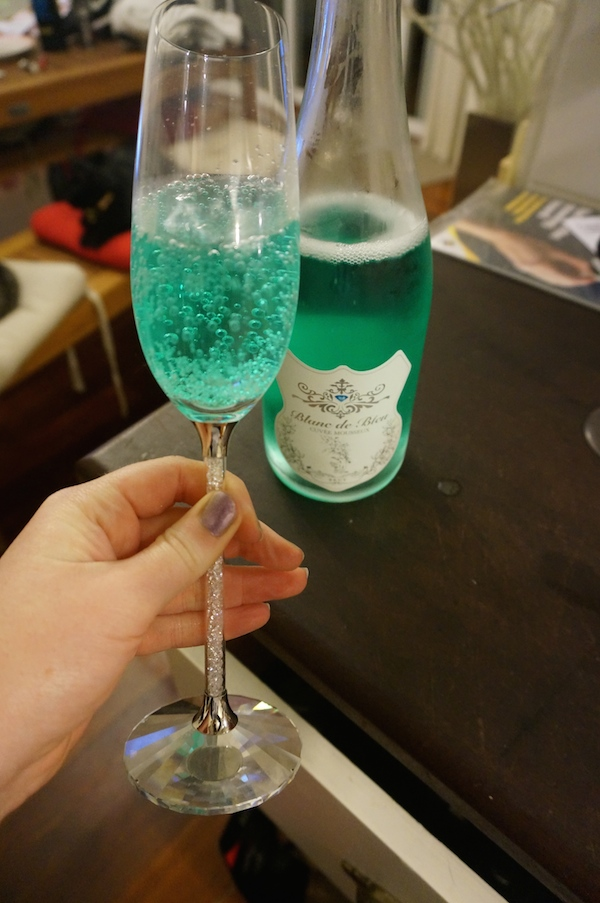 Come quickly, I'm drinking Smurf Wine. The world's first blue sparkling wine! photo