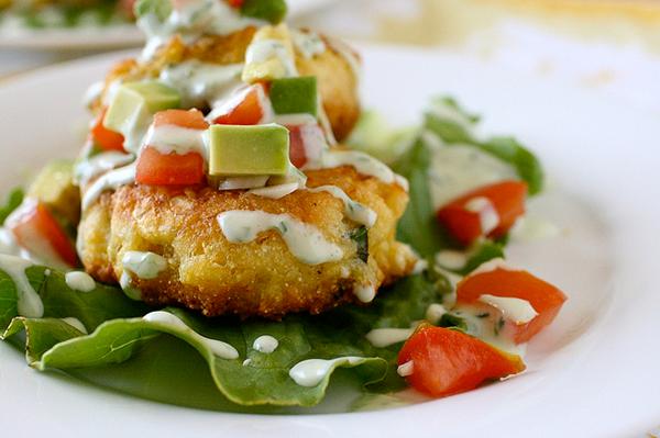 Cheesy Corn Cakes with Spicy Avocado and Tomato Salsa photo