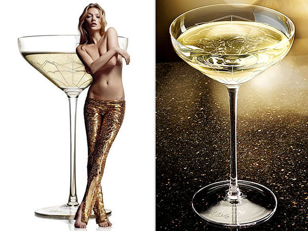 Kate Moss` left breast used to shape Champagne glass photo