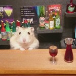 Little Hamster Bartenders Serving Tiny Food And Drinks photo