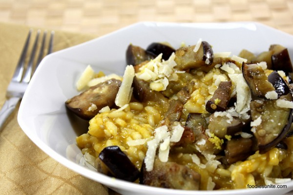 Lemon and aubergine risotto photo