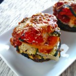 Lasagna stuffed Portobello mushrooms and Fat Bastard Merlot photo