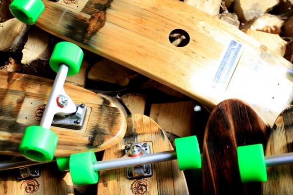 Wine barrels made into skateboards photo
