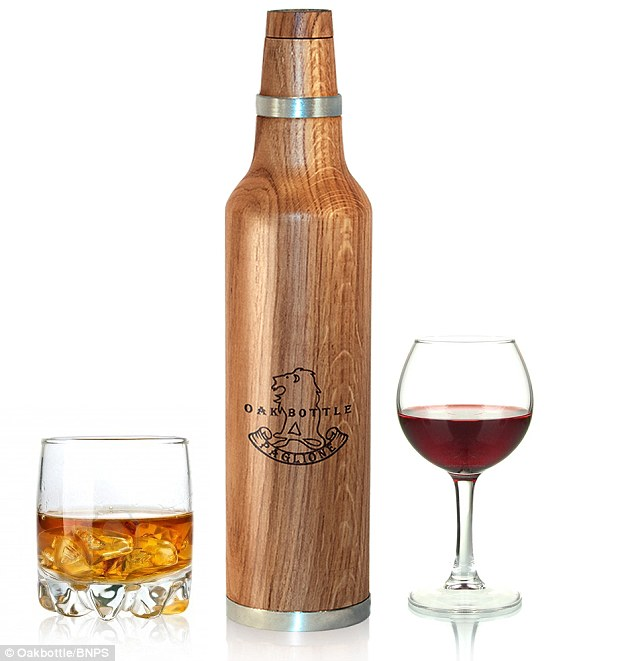 Wooden bottle that makes cheap booze taste like vintage wine photo