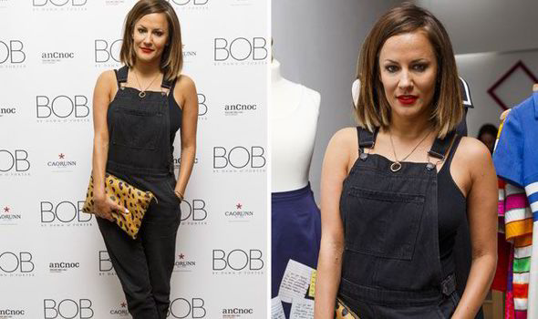 Caroline Flack Displays Her Playful Side In Cute Dungarees For Bob By Dawn O'porter Launch photo