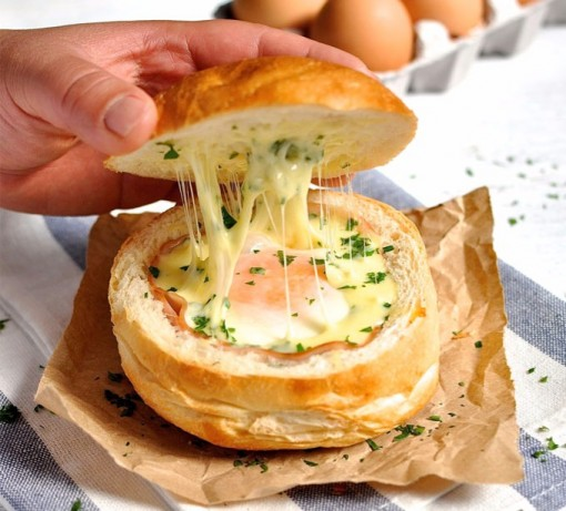 Ham, Egg and Cheese Bread Bowls photo