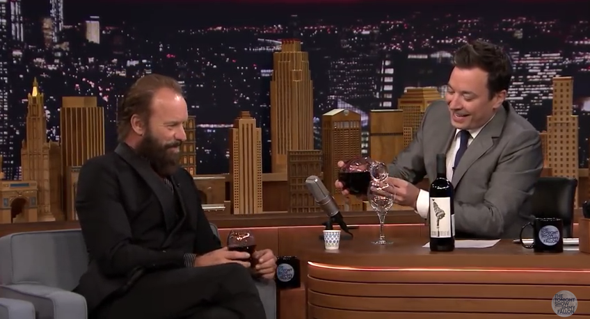 Sting gives Jimmy Fallon a wine tasting on The Tonight Show photo