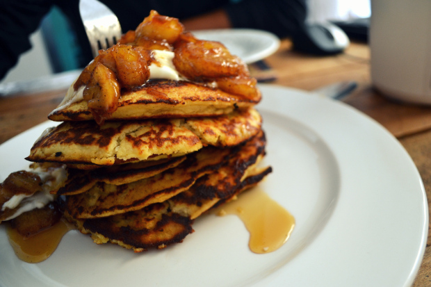 Banana Coconut Flour Flapjacks with Maple Syrup photo