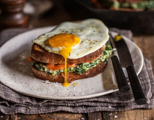 Croque Madame with spinach and smoked salmon photo