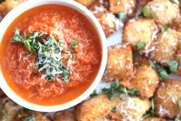 Fried Ravioli with Cheesy Marinara Dipping Sauce photo