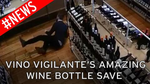 Watch wine lover make incredible leap to catch precious bottle of plonk photo