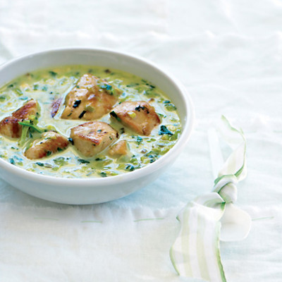 Caramelised leek and chicken coconut curry photo