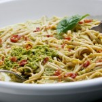 Skinny carbonara with peas, almonds and basil photo