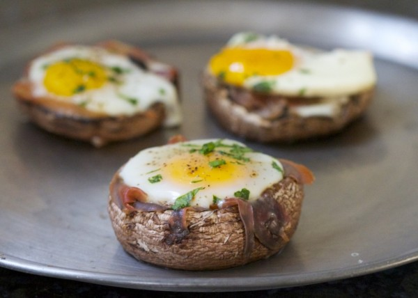 Baked Eggs in Portobello Mushroom Caps photo