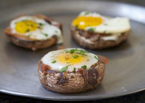 Baked Eggs in Portobello Mushroom Caps photo