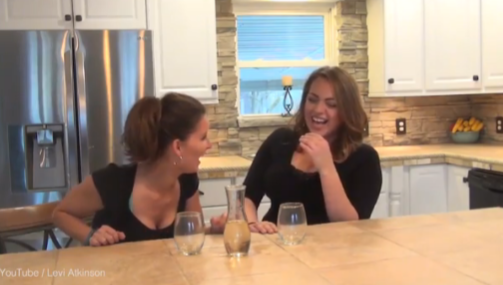 Two women drinking helium infused wine is funniest thing you ll see