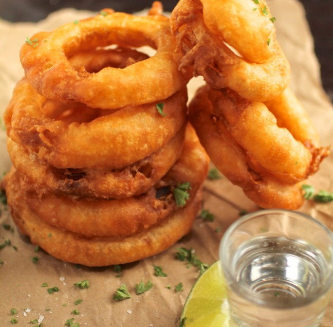 Tequila Battered Onion Rings with Honey Lime Yogurt Sauce photo