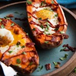 Baked Sweet Potato and Egg Breakfast Boats photo