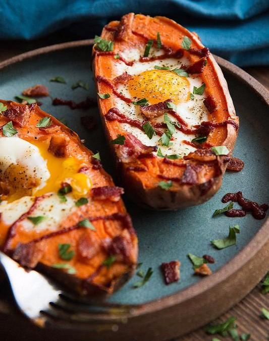 Baked Sweet Potato and Egg Breakfast Boats photo