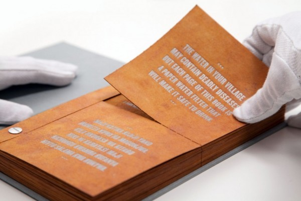 The Drinkable Book kills deadly waterborne diseases and create drinkable water from each page photo
