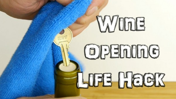 How to open a bottle of wine with a key photo