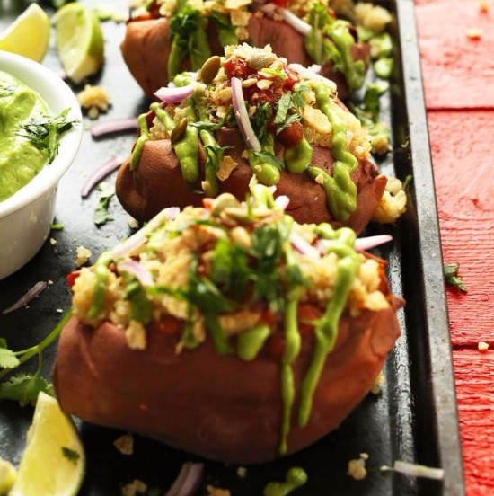 Quinoa stuffed sweet potatoes photo