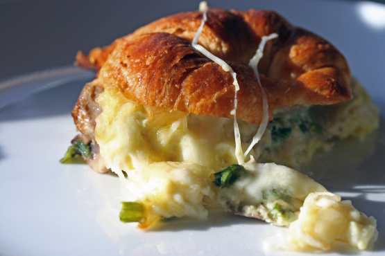 Croissant Breakfast Casserole with Mushrooms and Swiss Cheese photo
