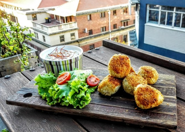 Freekeh Champagne Croquettes stuffed with Bacon, Cheese and Sweet Potato photo